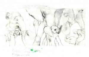 Boceto para Familia. 2011. Lápiz de grafito sobre papel, 12 x 13.5 cm