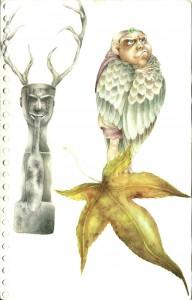 Página 161 – Hoja, chamán chino y un Tengu japonés. 2009.