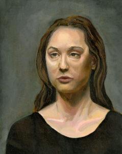 Retrato Femenino 2 Entrenamiento Tecnico. Varias poses 10 horas de trabajo. 2016. Oleo sobre lienzo 44 x 35 cm